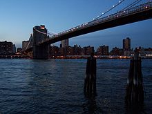 Photo du quartier d'East River, à New York. On y voit le lac East River, surplombé par un pont, qui mène à des gratte-ciels, situés à l'arrière-plan.