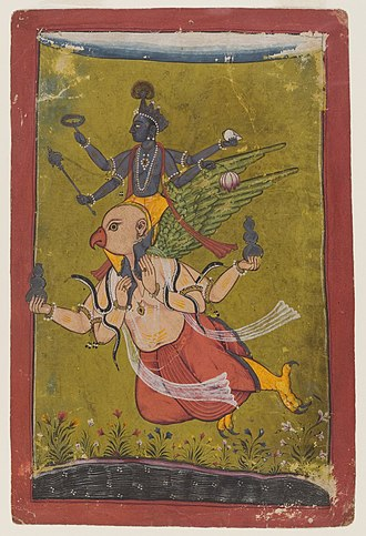 Garuda - Vishnu swoops down from heaven on an eagle named Garuda, who has four arms in this image, two of which hold vessels that probably contain the nectar of immortality