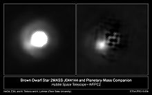 Hubble image of brown dwarf 2MASS J044144 and its 5–10 Jupiter-mass companion, before and after star-subtraction