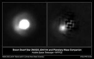 Exoplanet - 2MASS J044144 is a brown dwarf with a companion about 5–10 times the mass of Jupiter. It is not clear whether this companion object is a sub-brown dwarf or a planet.