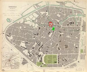 Saint-Géry Island - Map of Brussels in 1837. Saint-Géry Island is highlighted in red, the Brussels Stock Exchange is superimposed in green. North is roughly to the right.