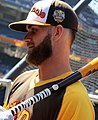 Bryce Harper looks on during Gatorade All-Star Workout Day. (28377246410) (cropped).jpg