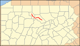Location of Bucktail State Park Natural Area in Pennsylvania