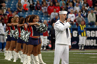 Buffalo Jills - Members of the Buffalo Jills during the singing of the national anthem at a pre-season game on August 28, 2008
