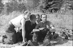 Erich Rudorffer - Rudorffer on 21 June 1944. In the background is his wingman, Unteroffizier Kurt Tangermann