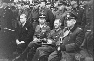 Pursuit of Nazi collaborators - Heinrich Himmler visited Norway in 1941. Seated (from left to right) are Quisling, Himmler, Terboven, and General Nikolaus von Falkenhorst, the commander of the German forces in Norway.