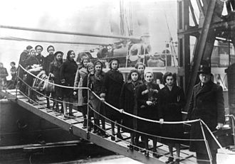 Jews escaping from German-occupied Europe to the United Kingdom - The children of Polish Jews from the region between Germany and Poland on their arrival in London on the Warsaw, February 1939.