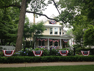 Bunting (textile) - An example of bunting in Wilmette, Illinois, USA