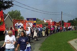 Burston Strike School - Trade Union and Labour Party Banners, Burston in 1998