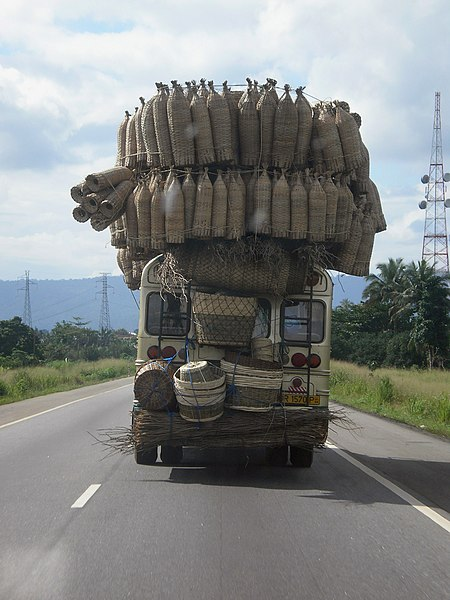 Bus loaded with baskets and fish traps Ghana.jpg
