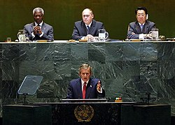 President George W. Bush addresses the United Nations General Assembly in New York City