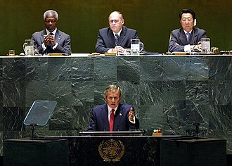 United Nations Security Council Resolution 1441 - George W. Bush addressed the General Assembly on 12 September 2002 to outline the complaints of the United States against the Iraqi government.