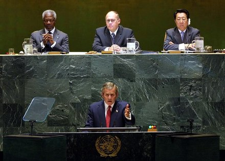 George W. Bush addressed the General Assembly of the United Nations on 12 September 2002 to outline the complaints of the United States government against the Iraqi government. Bush 2002 UNGA.jpg