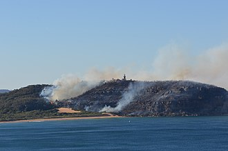 Barrenjoey, New South Wales - Barrenjoey Headland bushfire, 28 September 2013, viewed from the sea