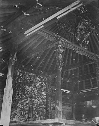 "Balinese architecture - Interior with a painted ""barba"" depicting an epic Hindu legend"