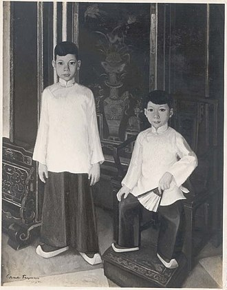 Cabang Atas - Portrait of Yan and Coen, grandsons of Khouw Kim An, Majoor der Chinezen of Batavia (by Charles Sayers, circa 1937).