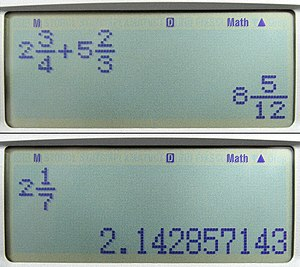 Calculator input methods - Scientific calculator displaying fractions and their decimal equivalents