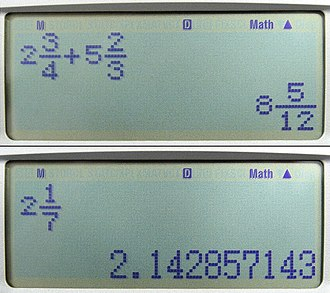 Calculator - Scientific calculator displays of fractions and decimal equivalents.