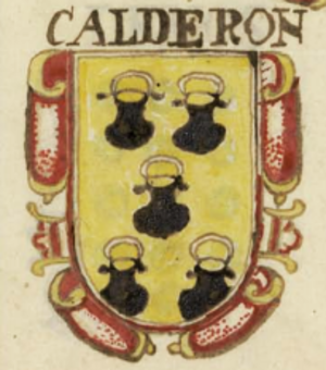 Mencía Calderón - Coat of Arms belonging to his paternal surname