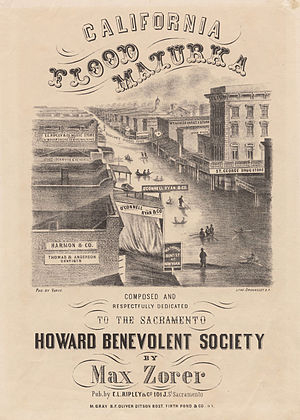 Great Flood of 1862 - Sheet music cover depicting Sacramento flooding