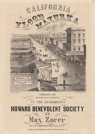 Great Flood of 1862 - Sheet music cover depicting Sacramento flooding