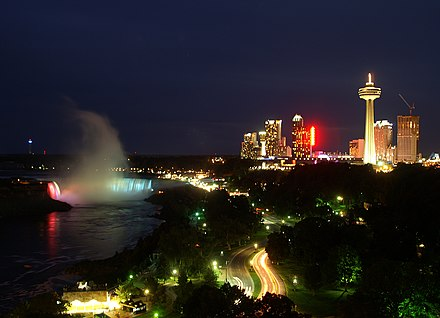 Encroachment of urban landscape on the Canadian side. Canadian Niagara Falls colours.jpg