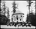 Canadian military band at the Vancouver Daily World headquarters at Alaska-Yukon-Pacific Exposition, Seattle, 1909 (MOHAI 8882).jpg