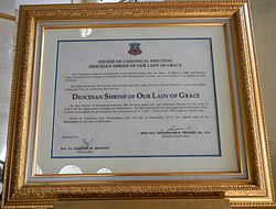 Decree of Canonical erection of a house of religious, Diocesan Shrine of Our Lady of Grace, Roman Catholicism in the Philippines, Roman Catholic Diocese of Caloocan. Canonicaljf.JPG
