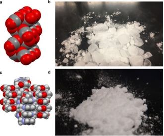 Molecular solid - Models of the packing of molecules in two molecular solids, carbon dioxide or Dry ice (a), and caffeine (c). The gray, red, and purple balls represent carbon, oxygen, and nitrogen, respectively. Images of carbon dioxide (b) and caffeine (d) in the solid state at room temperature and atmosphere. The gaseous phase of the dry ice in image (b) is visible because the molecular solid is subliming.