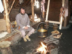Icelandic cuisine - Interior of a recreated medieval longhouse at L'Anse aux Meadows in Newfoundland