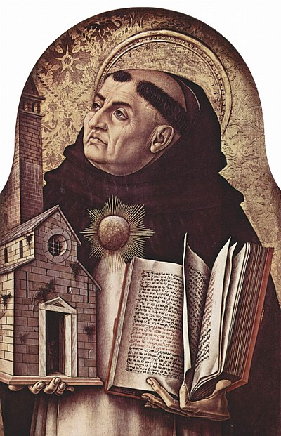 Thomas Aquinas, a Catholic philosopher of the Middle Ages, revived and developed the concept of natural law from ancient Greek philosophy Carlo Crivelli 007.jpg