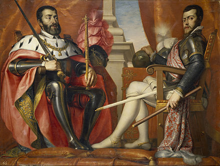Charles V, Holy Roman Emperor and King of Spain (left) with his son Philip Carlos I y Felipe II.jpg
