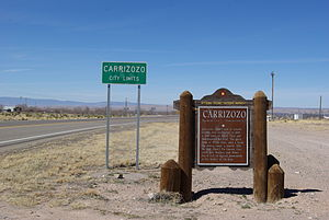 Carrizozo, New Mexico - Official scenic historical marker at eastern town limit