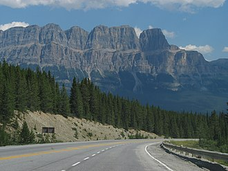 Alberta Highway 93 - Castle Mountain, in Banff National Park, as seen from Highway 93.