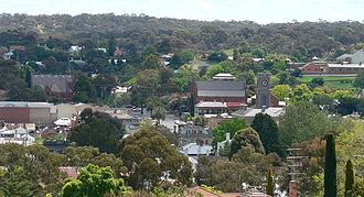Castlemaine, Victoria - View over central Castlemaine from the Burke and Wills Memorial Lookout