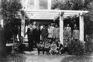 """Cate School - Cate School founder Curtis Wolsey Cate with his first class in 1910 at what he initially called """"The Miramar School"""" (Gane House)."""