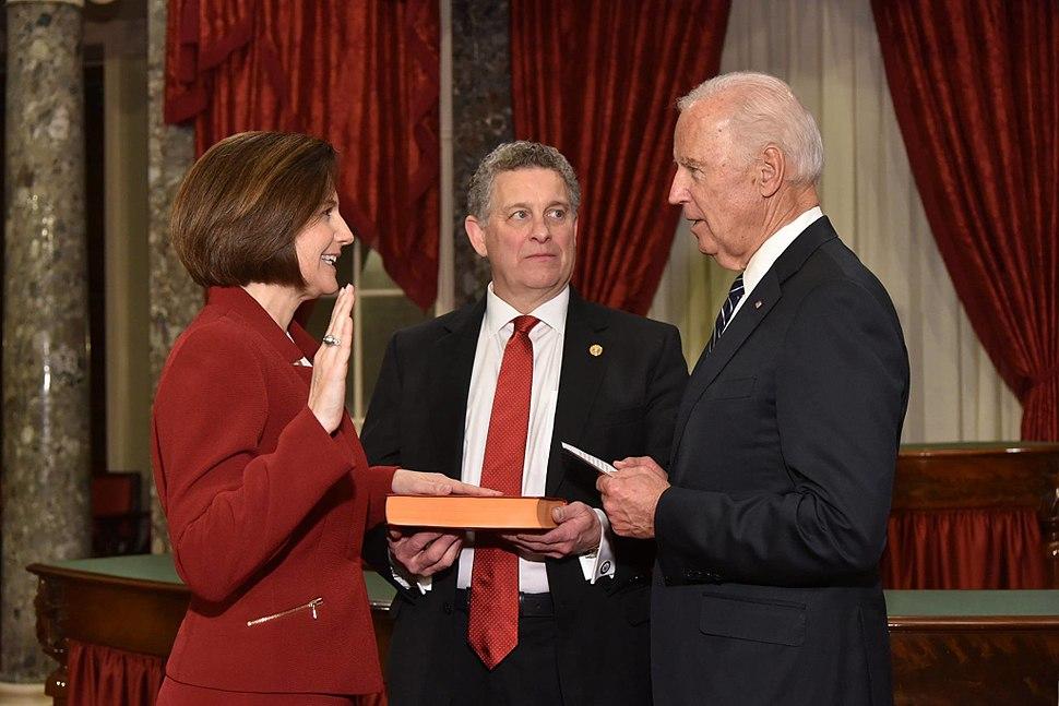 Catherine Cortez Masto being sworn-in as U.S. Senator by Vice President Joe Biden