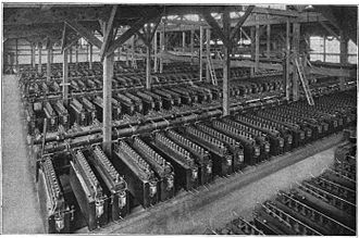 Electrochemical engineering - Cell room of a chlor-alkali plant ca. 1920