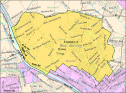 Census Bureau map of Ewing Township, New Jersey