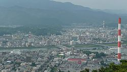 Panorama view of Agata and Nakashima, other downtown areas and the Ose River in Nobeoka, from Mount Atago