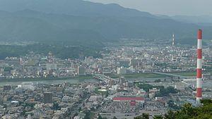 Nobeoka, Miyazaki - Panorama view of Agata and Nakashima, other downtown areas and the Ose River in Nobeoka, from Mount Atago