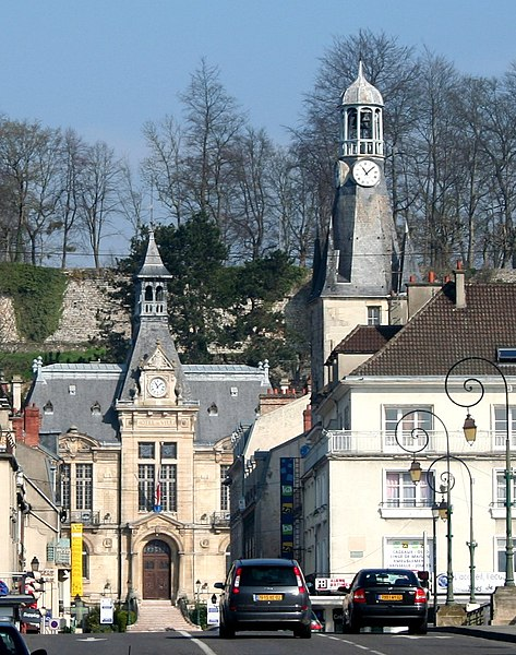 View on the town hall, the Balhan tower and the ramparts of Château-Thierry, Picardie, Aisne, France.