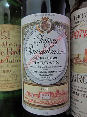 Château Rauzan-Gassies - A bottle from the 1995