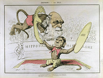 "Émile Littré - Caricature of Émile Littré and Charles Darwin depicted as performing monkeys breaking through gullibility (""credulité""), superstitions, errors, and ignorance. Illustration by André Gill."