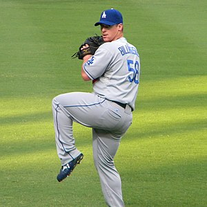 Chad Billingsley - Billingsley warming up before a game against the Atlanta Braves