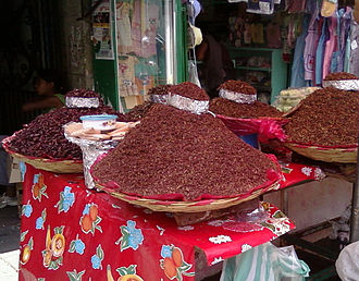 Chapulines - Various sizes of chapulines at the Mercado Benito Juarez in Oaxaca, Mexico