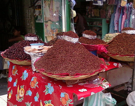 Various sizes of Chapulines at the Mercado Benito Juarez in Oaxaca, Mexico Chapulines de Oaxaca.jpg
