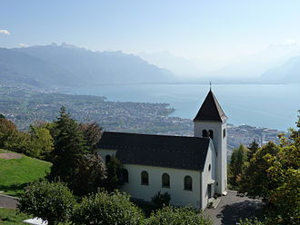 Chardonne - Chardonne church with Lake Geneva in the background