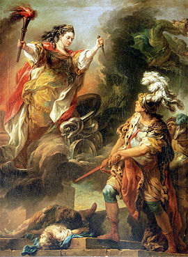 Medea sale de un nubarrón, llevando un estilete y una antorcha, y teniendo una serpiente a sus pies. Bajo ella, Jasón, delante del cadáver de sus dos niños, está a punto de desenvainar su espada.
