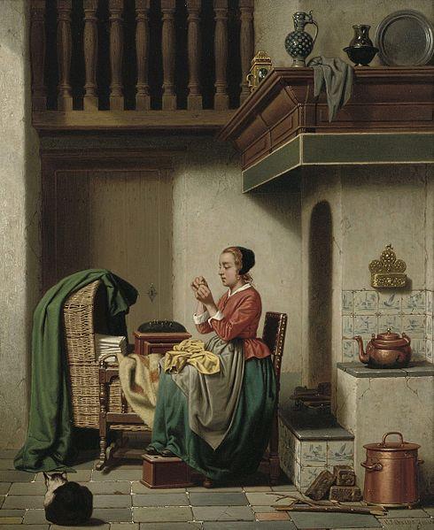 File:Charles Joseph Grips - Doing the Needlework, 1864.jpg